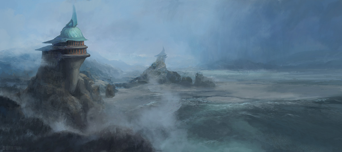 Guardians watching over a stormy seascape concept art