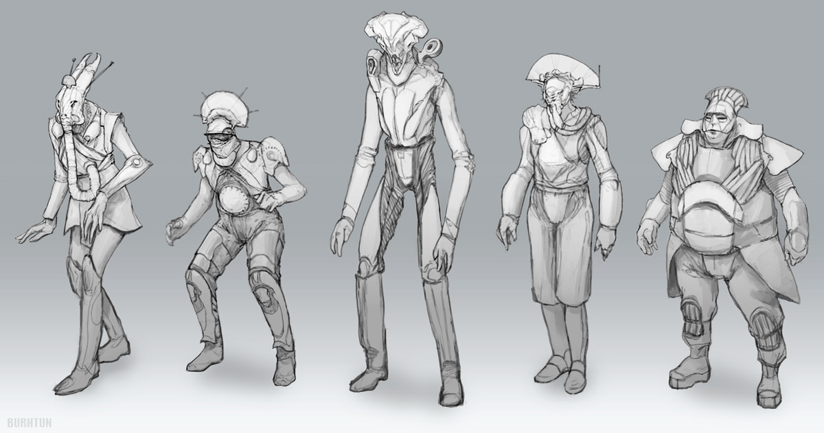 SciFi alien character sketches